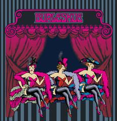 Burlesque dancer. Engraved style. Vector illustration