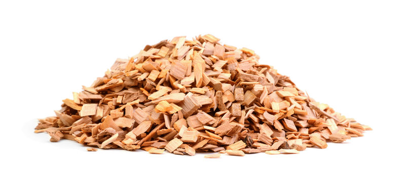 Wood chips isolated on white