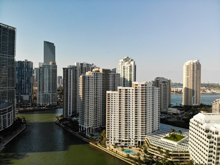BRICKELL, FL, USA - APRIL 29, 2018: Aerial drone image of Brickell City Center in Miami, Florida
