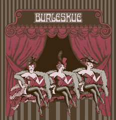 Burlesque dancer. Engraved style. Vector illustration