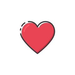 Heart icon in a flat design. Vector illustration