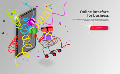 Online Grocery shopping concept. Isometric Shopping cart with goods