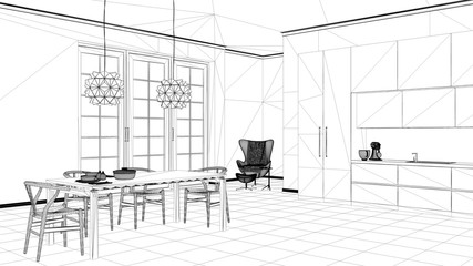 Interior design project, black and white ink sketch, architecture blueprint showing classic kitchen, dining table laid for two, with chairs and pendant lamps, contemporary architecture