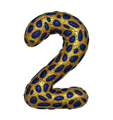 Number 2 two made of golden shining metallic 3D with blue glass isolated on white background.