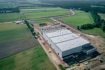 Industrie - Hallenbauneubau, Luftbild mit Fotodrohne