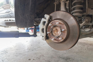 Close-up, Repairing the car disk brakes in the garage.