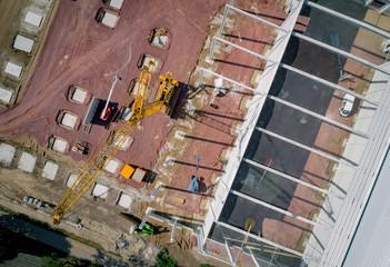Großbaustelle - Baukran aus der Vogelperspektive, Luftbild