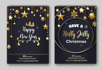 Holly Jolly Christmas and Happy New Year festive poster or invitation card templates.
