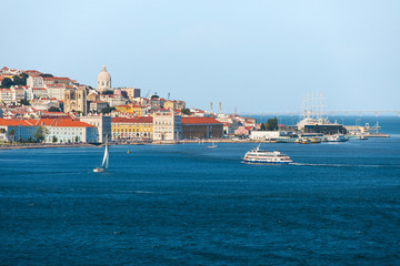 Lisbon skyline on the Tagus River, view of the old town, Portugal