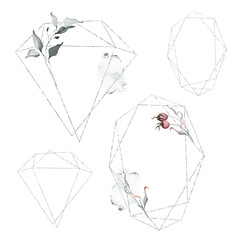 Delicate Geometric Frames with Floral Elements