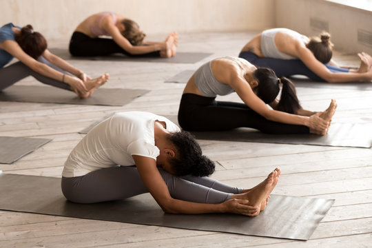Group of young people doing yoga Seated forward bend exercise, paschimottanasana pose, working out, indoor full length, mixed race female students training at club. Well being, wellness concept
