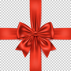 Realistic red gift bow and ribbon isolated on transparent background.