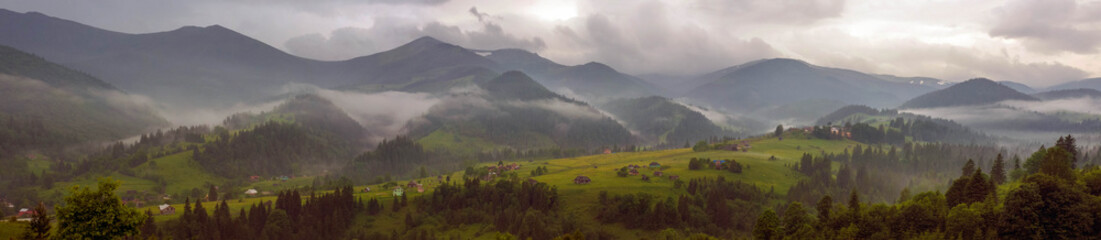 Printed kitchen splashbacks Eggplant Fantastically beautiful morning in the Carpathians in the summer. amazing view of the mountain village Dzembronya foggy morning in the mountains in summer.