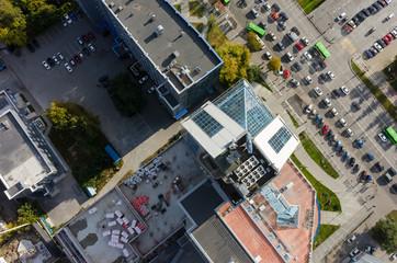Tyumen, Russia - September 26, 2017: Office building of Zapsibgazprom and main street, Bird's eye view