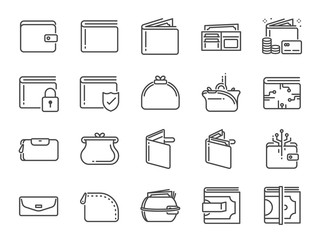 Wallet icon set. Included the icons as purse, money, bag, finance, e-wallet and more.