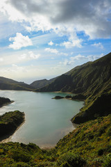 beautiful lagoon surrounded by mountains. Ancient volcano crater. Fire lagoon Azores Islands Portugal