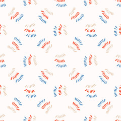 Wavy Vector Squiggle Stripes All Over Print. Sketchy Lines Seamless Repeating Pattern. Geometric Wave Style. Red Blue White Background. For Feminine Fashion Prints, Wallpaper, Stationery, Packaging.