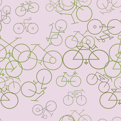 Seamless abstract hand drawn outline of bicycle, artistic for graphic design, catalog, textile or texture printing & background.