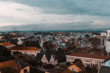 view over colorful dalat in vietnam