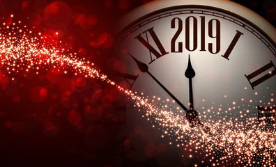 Red shiny bokeh 2019 New Year background with clock.