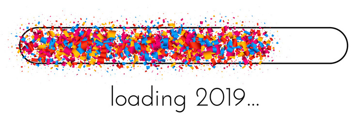 Loading 2019 New Year banner with colorful progress indicator. Wall mural