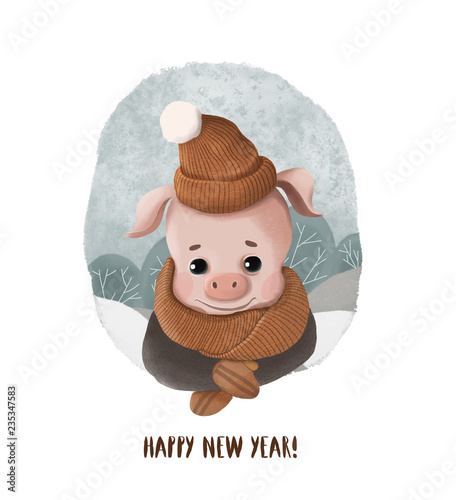 cartoon new year card with a pig