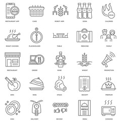 25 linear icons related to Cooking, Menu, Review, Delivery, Dish