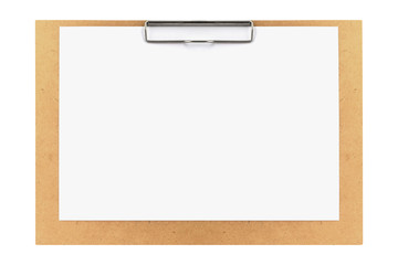 clipboard with blank paper isolated on white background