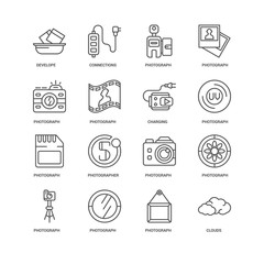 Simple Set of 16 Vector Line Icon. Contains such Icons as Clouds