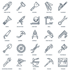 Set Of 25 outline icons such as Toolbox, Pickaxe, Anvil, Drill,
