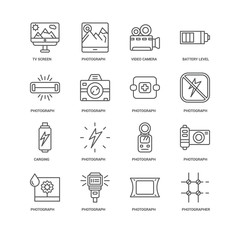 Simple Set of 16 Vector Line Icon. Contains such Icons as Photog