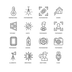Simple Set of 16 Vector Line Icon. Contains such Icons as Flash,