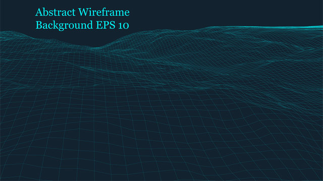 Abstract vector grid background. Polygonal wireframe grid vector. 3d isolated shaped grid illustration.