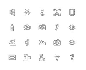 Simple Set of 20 Vector Line Icon. Contains such Icons as Spotli