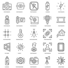 Simple Set of 25 Vector Line Icon. Contains such Icons as Bright