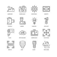 Simple Set of 16 Vector Line Icon. Contains such Icons as Night