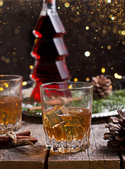 Whiskey, brandy or liquor in christmas time