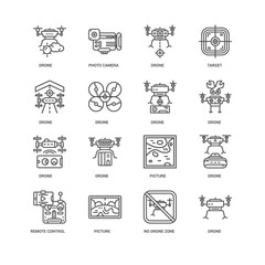 Simple Set of 16 Vector Line Icon. Contains such Icons as Drone,
