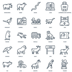 Set Of 25 outline icons such as Tourist, Macaw, Giraffe, Lion, P