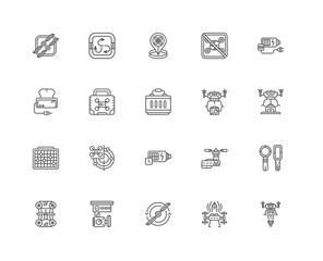 Simple Set of 20 Vector Line Icon. Contains such Icons as Drone,