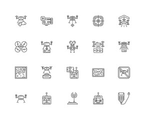 Simple Set of 20 Vector Line Icon. Contains such Icons as Batter