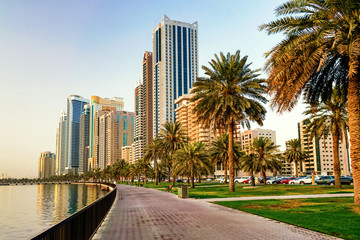 Morning cityscape with sun in Sharjah. UAE.