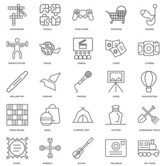 25 linear icons related to Toy train, Parachuting, Camera, Puzzl