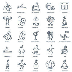 Set Of 25 outline icons such as Meditation, Lotus, Skincare, Fit