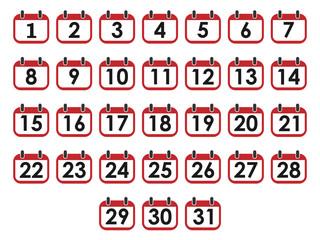 Calendar day icon set, number on calendar page. Vector illustration, flat design.