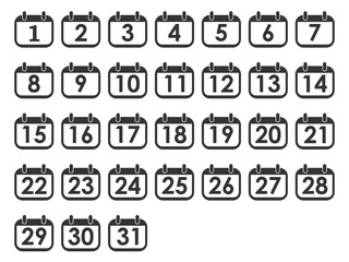 Calendar day icon set, number on calendar page. Vector illustration, flat design.