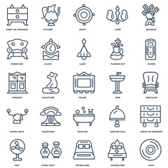 Set Of 25 outline icons such as Vinyl, Double bed, Hand soap, Fa