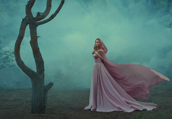 gorgeous young elf princess with blond hair, dressed in an expensive luxurious long gentle pink dress, holding a light hooded cape with her hands, a girl stands alone in a dark forest full of fog