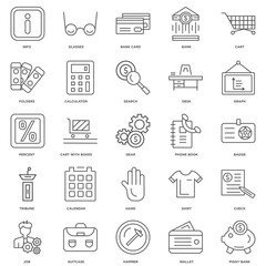 25 linear icons related to Piggy Bank, Wallet, Hammer, Suitcase,