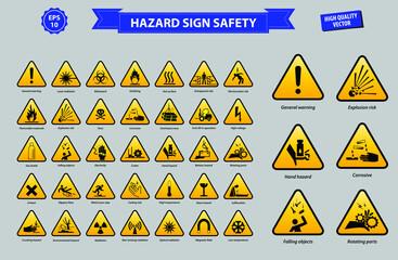 set of hazard sign safety (general warning, laser radiation, biohazard, oxidising, flammable materials, explotion risk, toxic, corrosive, high voltage, battery hazard, cutter, high temperature)
